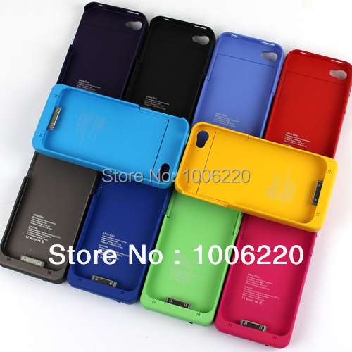 10pcs/lot 1900 mAh Power External Battery Charger Case For iPhone 4 4G 4S BROWN/Deep pink/Orange/Blue/White/Red/Purple---PH03942(Hong Kong)