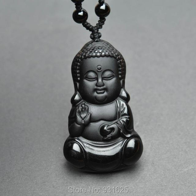Beautiful Chinese Handwork Natural Black Obsidian Carved Baby Buddha Amulet Lucky Pendant + Beads necklace Fashion Jade Jewelry()