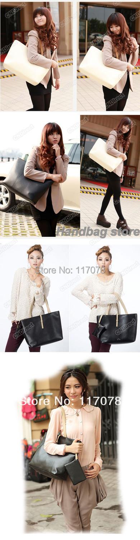 Europe Fashion designer bags Street purses and handbags Soft PU Leather Tote Shoulder Bag drop shipping 3460(China (Mainland))