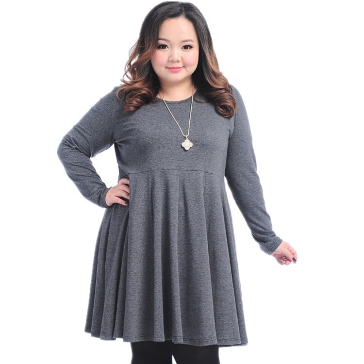 XXXL Women Dresses Fashion 2014 New Women's Spring Autumn Long-Sleeved Pleated Plus Size Dress High Quality ! 733(China (Mainland))