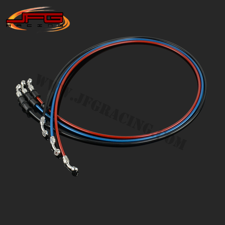 1500mm Braided steel Reinforced Brake Clutch Hose Line Pipe with stainless steel Banjo for CRF YZF RMZ KTM KXF motorcycle(China (Mainland))