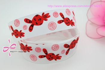 1'' discounts Free shipping easter rabbit  6 colors printed grosgrain ribbon bow diy decoration OEM wholesale 25mm P392