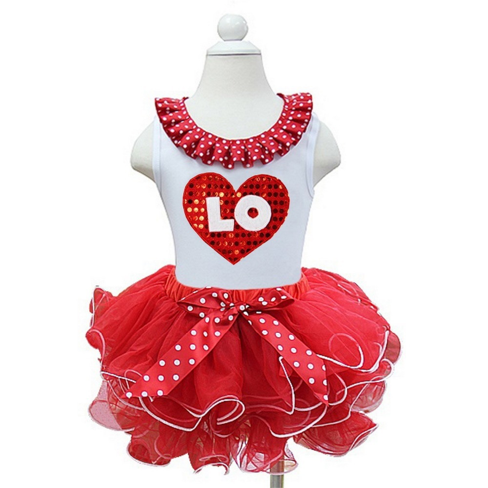 Valentine's Day Heart LOVE Twin White Tank top with Red White Petal Tutu outfits 1-7Y(Hong Kong)