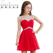 Vestido de Festa Curto Boutique Crystal Beaded See Through Neck Short Red Cocktail Dress Elegant Party Dresses(China (Mainland))