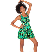 1020 Fashion Women's 3D printing green weed maple leaf prints elastic summer sexy Girl skater one-piece dress