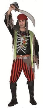 Оптовая продажа - горячая распродажа Новый стиль хэллоуин косплей костюм ну вечеринку одежда для взрослого человека трикотажные череп костюм черный и красный col