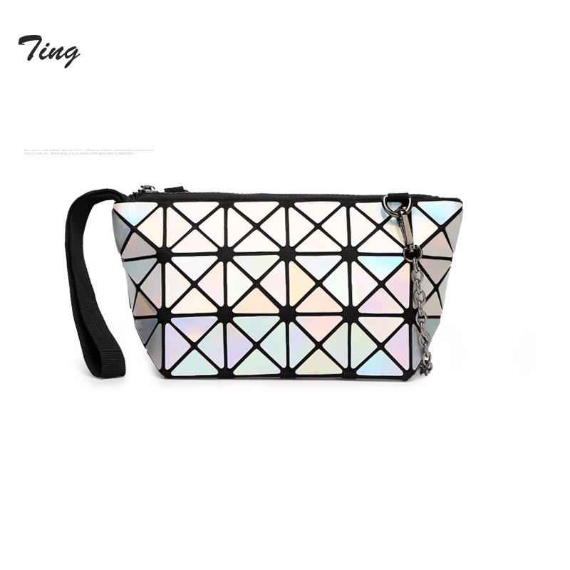 japanese Famous luxury baobao geometry bag leather messenger bag women Chain navy clutch designer Folding Mini diamond bag(China (Mainland))