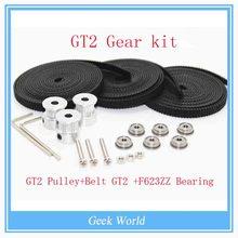 GT2 Gear kit & F623ZZ Bearing + 3X 2M Belt GT2 16 Tooth Pulley bore 5mm for Delta Rostock Kossel Mini