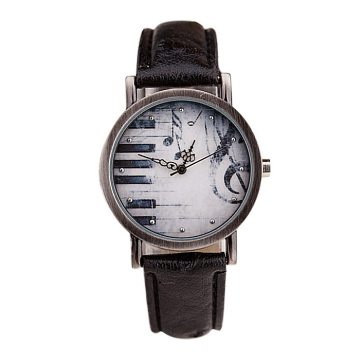 Creative Fashion Men And Women Retro Notes Piano Keys Pattern Dial Leather Quartz Watch