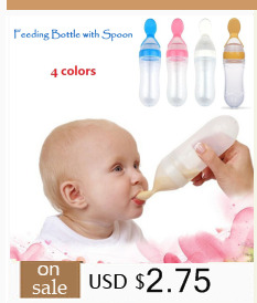 1PC Silicone Baby Feeding Bottle with Spoon Bottle Baby Paciffier Kids  Nipple 90ml