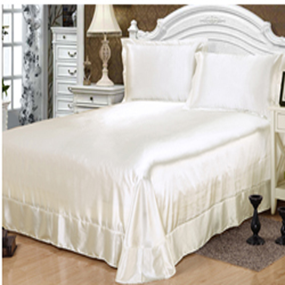 100 satin silk bedding sets bed linen white satin - Ropa de cama sabanas ...