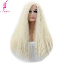 Buy Yiyaobess Afro Kinky Curly Lace Front Wig White Women Heat Resistant Synthetic U Part Light Blonde Long Lolita Wigs for $39.92 in AliExpress store