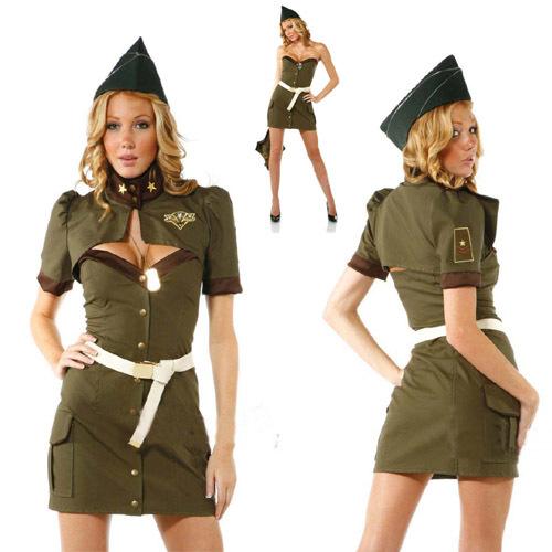 Fashion female police uniform Army Green female police clothes stewardess loading the cosplay uniform(China (Mainland))