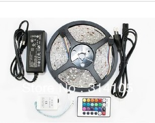 5M 500CM 60 leds/M  Waterproof ip65, 300LEDS Flexible RGB 5050 Led Strip Light +24 Keys IR Remote+DC12V 6A Powersupply