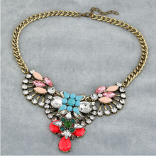 5 colors summer 2014 fashion big star fan of luxury dazzling gem drop rhinestone necklace choker