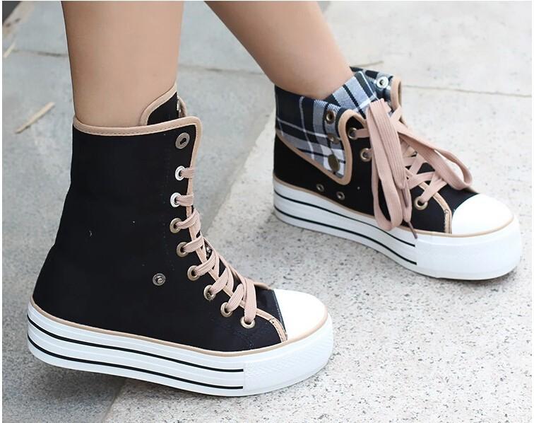New 2016 Women 4 Colors High Upper Platform Canvas Shoes Woman Lace-Up Casual Platform Casual Shoes Women's Walking Shoes
