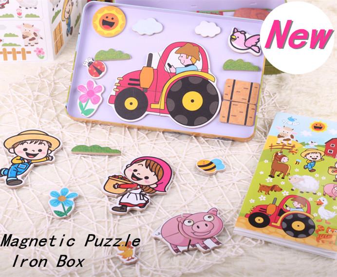 New Arrival Baby Toys Animal/Vehicle Magnetic Puzzles Large Iron Box Child Educational Refrigerator Wooden Toys Infant Gift(China (Mainland))