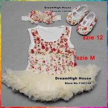 Girls vestido infantil Rosette Baby Dress Diamond Headband shoes sapato set,Flower Girl princess baby clothes Shoes Set #7A5342(China (Mainland))