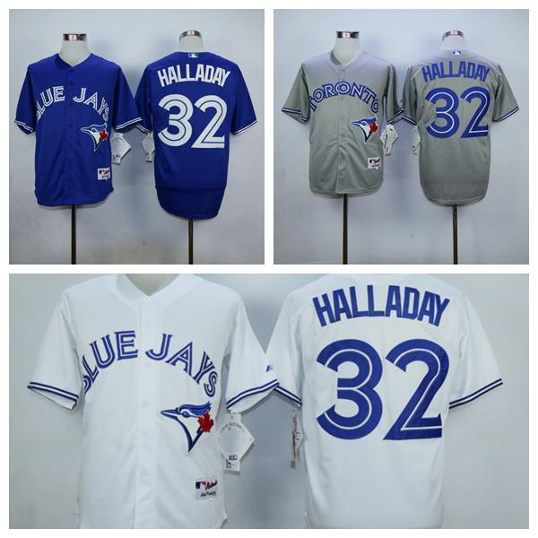 Good Quality Mens Toronto Blue Jays Jerseys #32 Roy Halladay Baseball Jersey,Embroidery and Sewing Logos,Size M-XXXL