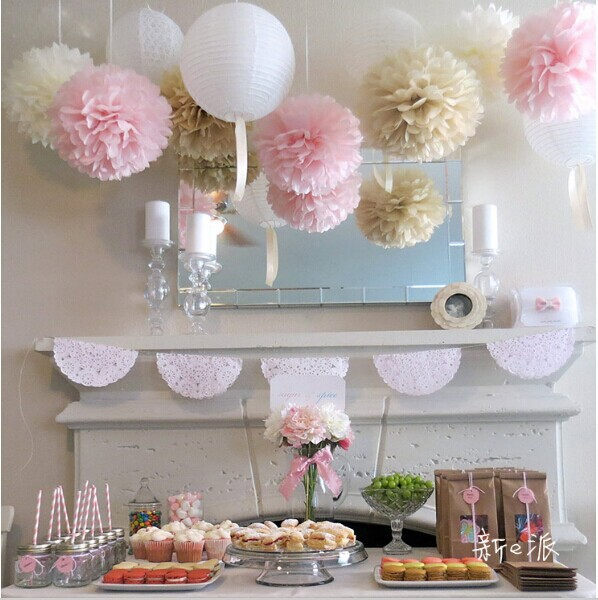45pcs mixed size (10cm,15cm,20cm) Tissue paper pom poms artificial flowers balls Wedding Decorative Props Supplies N78(China (Mainland))