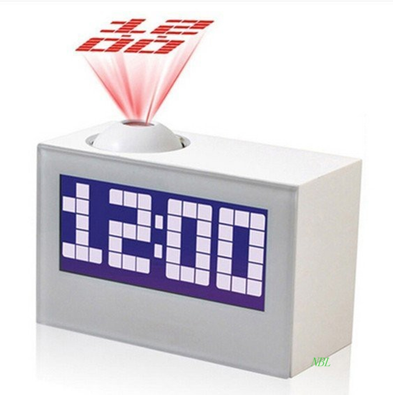 20pcs/lot EMS Black/White Multi-Function Digital LED Projector Clock For Home Decor Talking Projection Alarm Clock Free Shipping(China (Mainland))