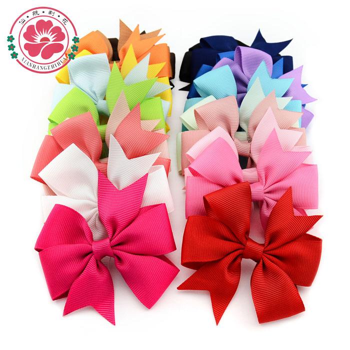 Fashion 3 inch Baby Girl Hair Bows Clips Boutique Hair Pin Grosgrain Ribbon Bows Hairpins Kids Headwear Accessories 564(China (Mainland))