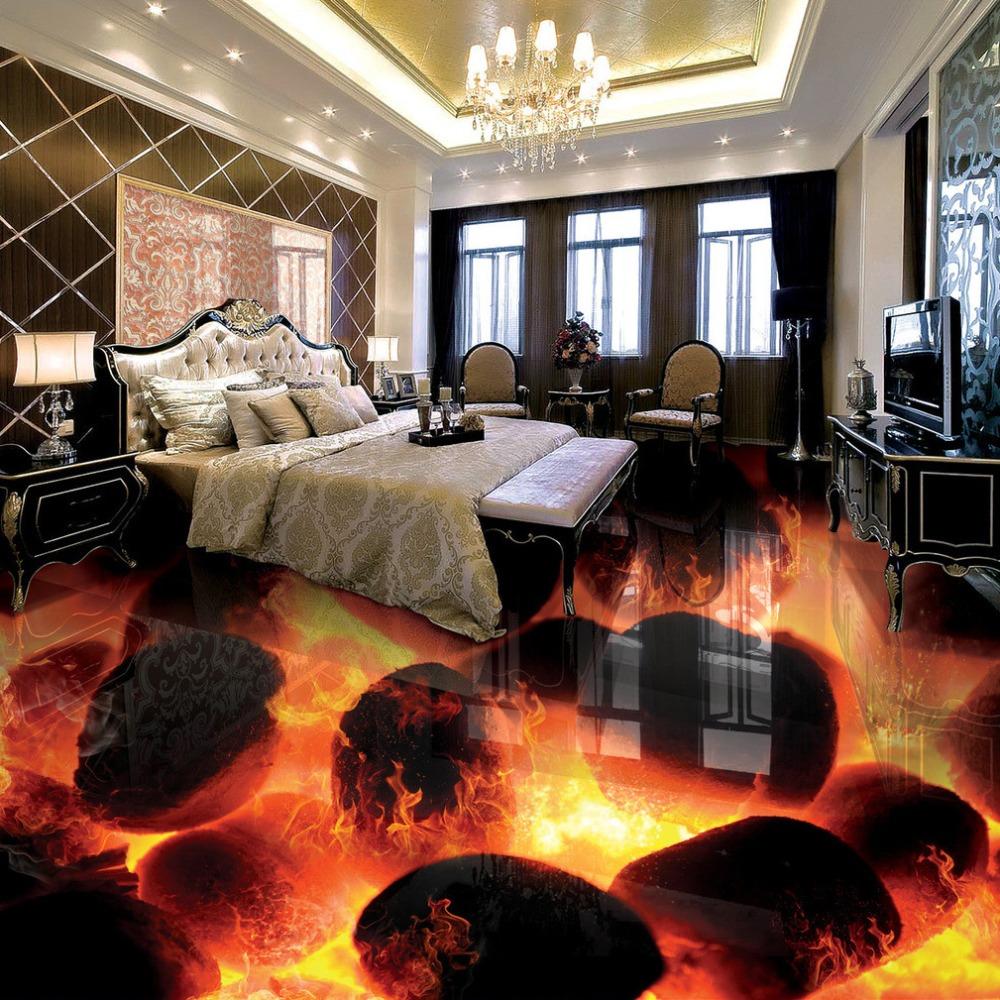 Custom 3D Flooring Murals 3D Stereo Stones Flame Bedroom Living Room  Self Adhesive Waterproof 3D Floor Tiles Fresco Wallpaper