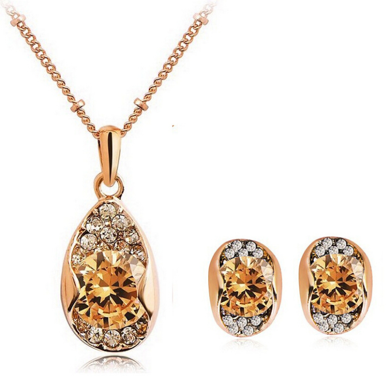 (20 sets/lot) 2 colors Water Drop Fashion Jewelry Set Zircon Necklaces+Earrings - Victorian jewelry 's store
