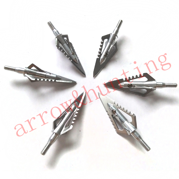 6pcs archery arrow head silver crossbow arrow point 4 blades broadhead for hunting compound bow arrow