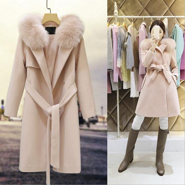 Зима осень теплые длинные кашемировые пальто куртки женщины шерстяные Грудью Пончо женский Пояс Пальто кашемировые пальто куртки Плюс Размер