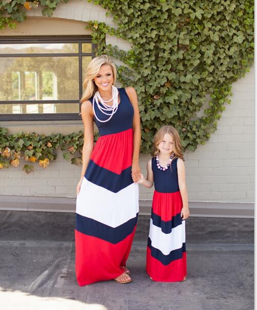 2016 summer mother daughter dresses stripe maxi mother and daughter clothes family look matching mother daughter clothes(China (Mainland))