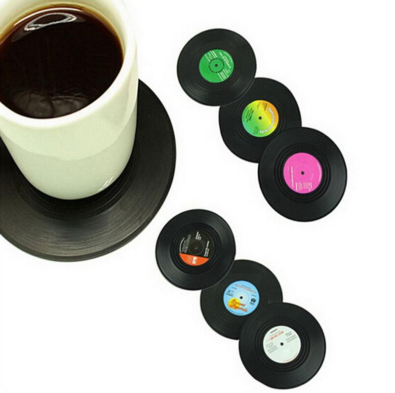 2015 New Top Fashion Classic Placemat 6pcs/set Retro Cd Coasters Album Slip Vinyl Cup Mat Record Table Bar Drinks Mats Wd-10076(China (Mainland))