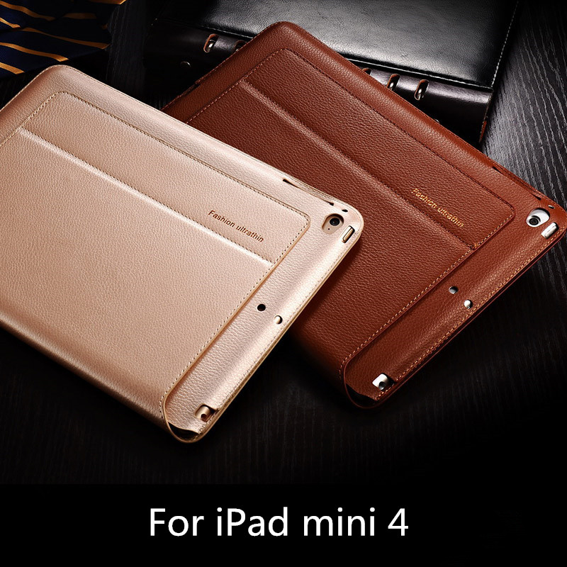 New Top Quality for iPad mini 4 genuine Leather case for iPad mini 4 smart sleep protective cover Fishion ultrathin,Color Black(China (Mainland))