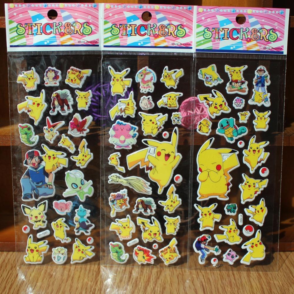 30pcs/lot Pikachu Sticker Pokeball Cartoon 3D Model Pikachu Toy Pikachu Sticker Children Kids Baby Best Gift Free shipping(China (Mainland))