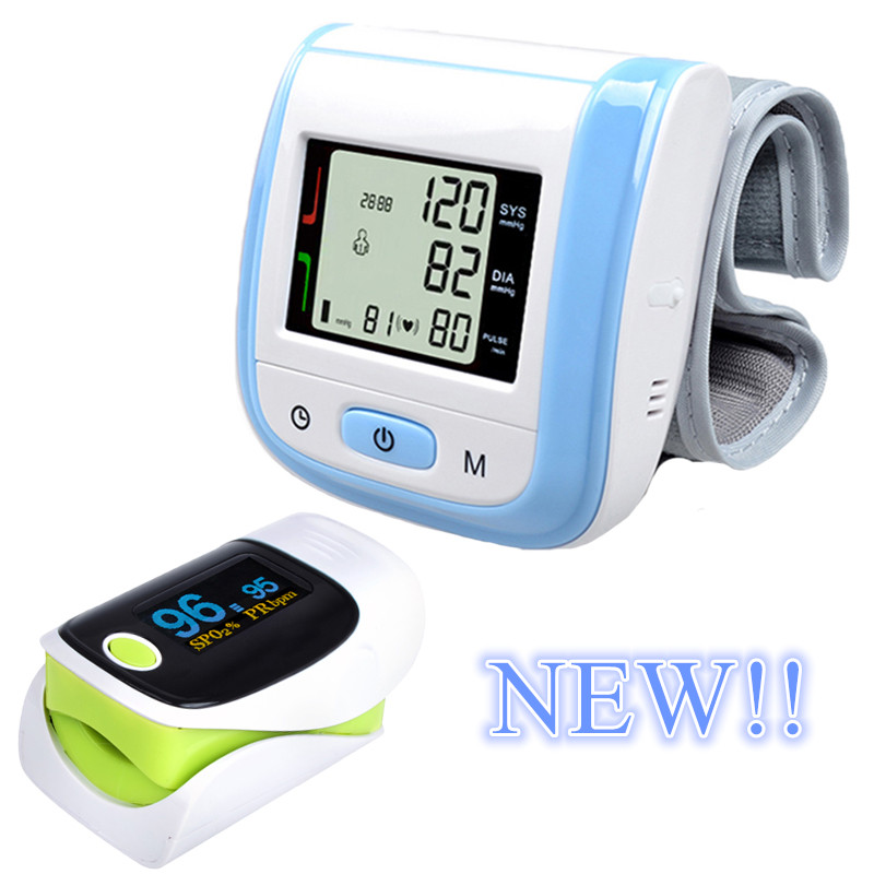 New! Blue LCD Digital Wrist Blood Pressure Monitor Tonometer+OLED Display Fingertip Pulse Green Oximeter Oximetro Pulsioximetro(China (Mainland))