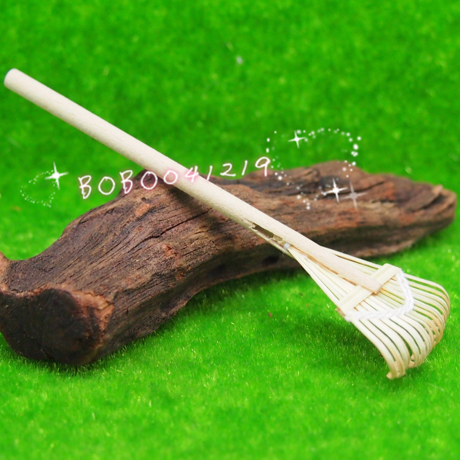 Dollhouse Miniature 1:12 Toy Garden Leaves Clearing Bamboo Broom L9.7cm SPO08(China (Mainland))