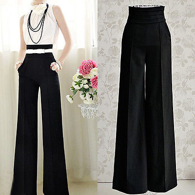 Womens Casual Black Slim High Waist Flare Wide Leg Palazzo Long Trousers Pants(China (Mainland))