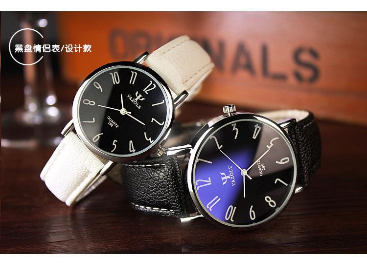 Yazole Quartz Watch Men Waterproof Casual Business Leather Watches Classic Ultra-thin Blue Glass men Quartz-watch reloj hombre