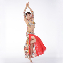 Super Quality Egyptian Belly Dancing Clothes Professional Rose Patterns Beads Bra & Skirt Bellydance Outfit Sleeve Armbands