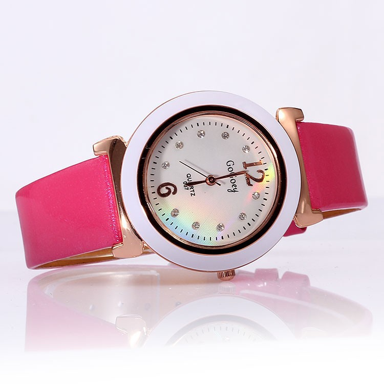 Woman PU leather strap watches alloy stainless steel quartz watches / dial porcelain outer ring dimension diamond watches(China (Mainland))