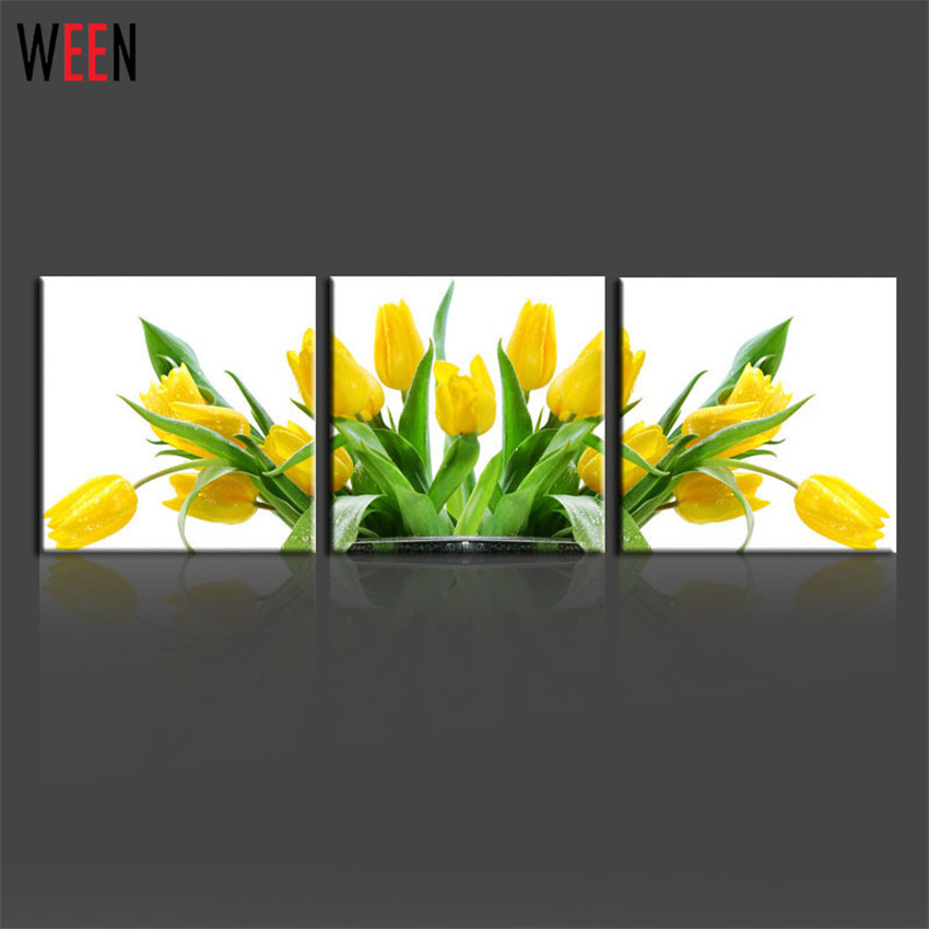 3 Piece Yellow Tulips Christmas Wall Pictures For Living Room Modern Canvas Painting Home Decor Lover Gifts Printed Cheap Art(China (Mainland))