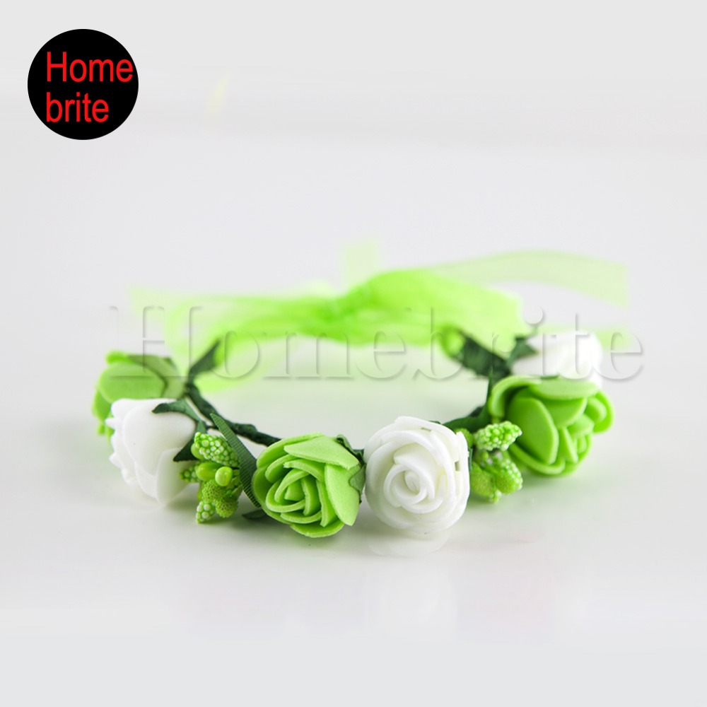 Party Decorative Flowers Wrap Wrist Band 6 Roses With Fruits Bracelet Adjustable Ribbon 1 Piece For Wedding Festival PT015(China (Mainland))