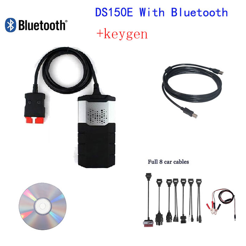 2014R1 Car diagnostic tool TCS CDP Plus De1phi DS150E Bluetooth Autocom+keygen+Full 8 car cables