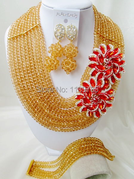 Fashion Nigerian African Wedding Beads Jewelry Set ,Champagne gold Crystal Necklace Bracelet Earrings Set A-8162<br><br>Aliexpress