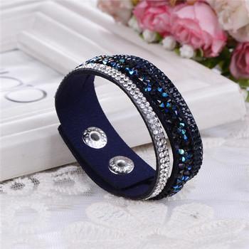 6 слой плетёные браслеты утолить кожа браслеты с кристаллы пара ювелирные изделия
