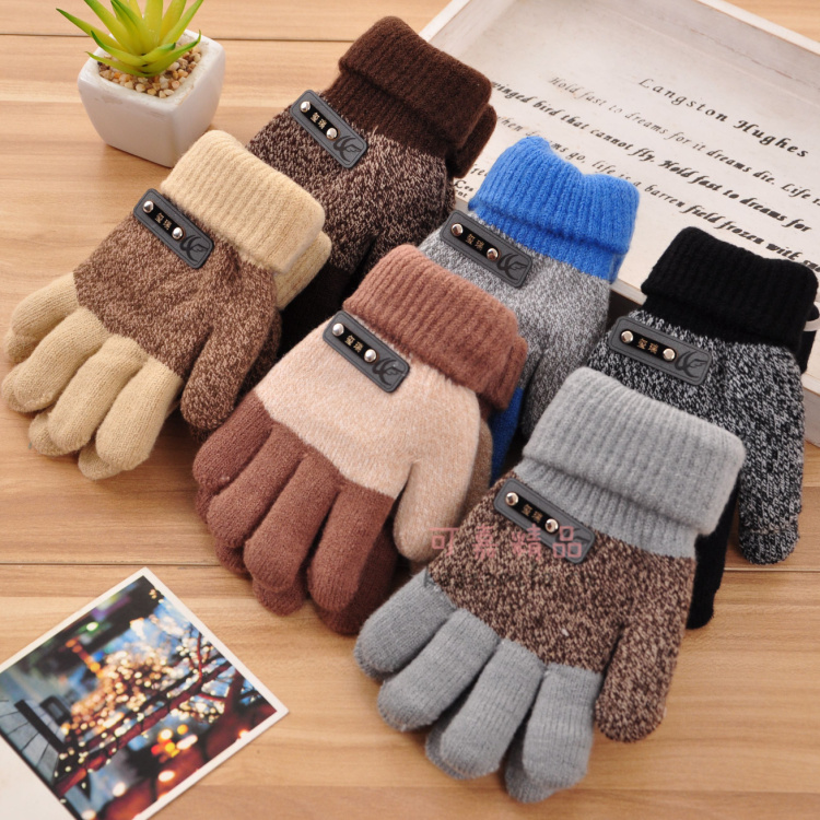 2014 Autumn And Winter Child Gloves Thick Warm Cashmere Gloves Boy Girl Five Fingers Gloves Baby & Kids Glove 5 Styles(China (Mainland))