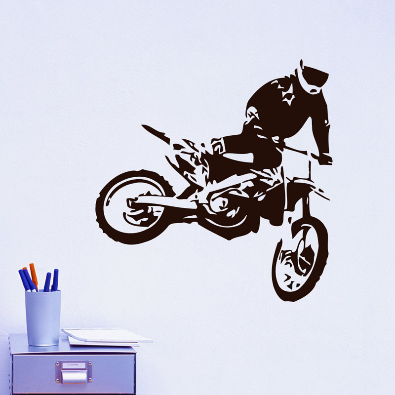 Motocross wall decals jumps motorcycle home decor diy for Motorcycle decorations home