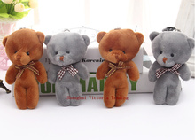 10CM Plush Stuffed Bear Toy Doll 2Colors - Joint Bear Wedding Bouquet GIFT TOY DOLL ; Keychain Pendant Plush Toy Doll(China (Mainland))