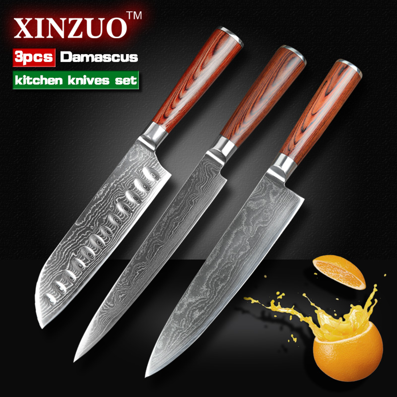 3 pcs kitche knives set japanese 73 layers damascus steel kitchen knife chef cleaver sashimi. Black Bedroom Furniture Sets. Home Design Ideas