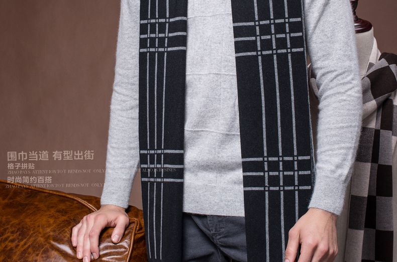 2016 New Men Wool Scarf  Fashion Man Warm Shawls European Style Gift for Man Hot Sales Classic Design Winter Scarf  B-3837